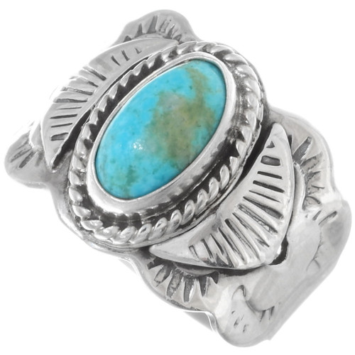 Navajo Turquoise Silver Ladies Ring 38041
