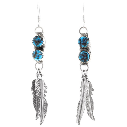 Native American Feather Dangle Turquoise Earrings 38058