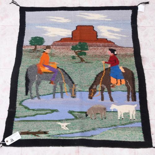 Vintage Navajo Pictorial Wool Rug 38062