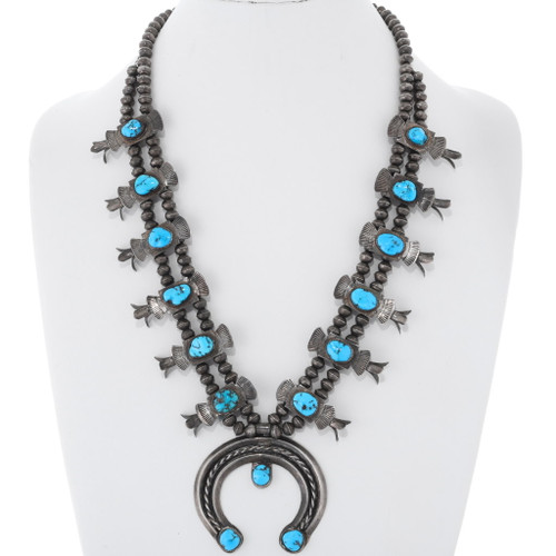 Old Pawn Turquoise Squash Blossom Necklace 38065