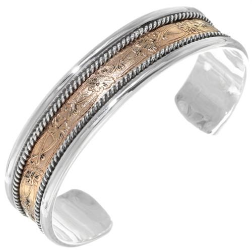 Gold Silver Navajo Cuff Bracelet 38073