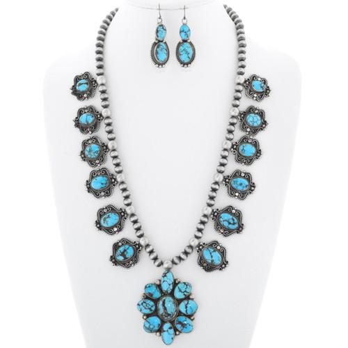 Artistic Navajo Gem Turquoise Necklace Set 38012