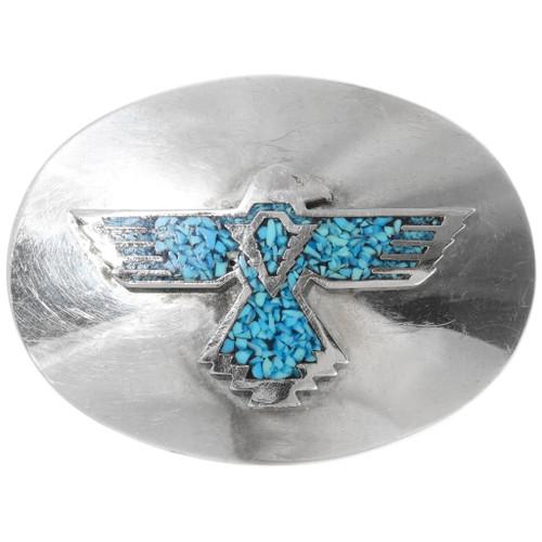 Silver Thunderbird Turquoise Belt Buckle 39113