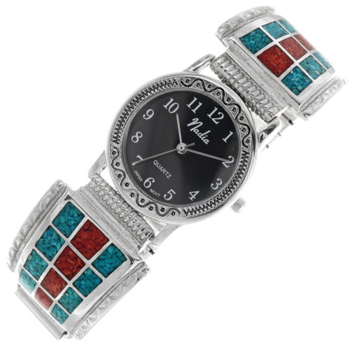 Vintage Turquoise Coral Mens Watch 39114