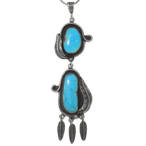 Vintage Turquoise Silver Native American Pendant 39120