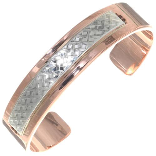 Mens Heavy Gauge Copper Silver Cuff 39130