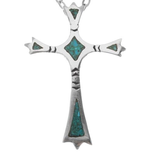 Small Navajo Turquoise Cross Pendant 39197