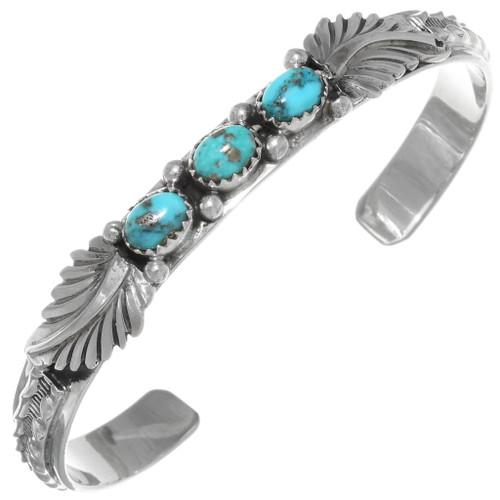 Natural Turquoise Silver Navajo Bracelet 39200