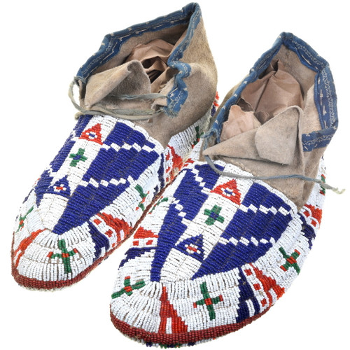Antique Sioux Indian Fully Beaded Moccasins 39222