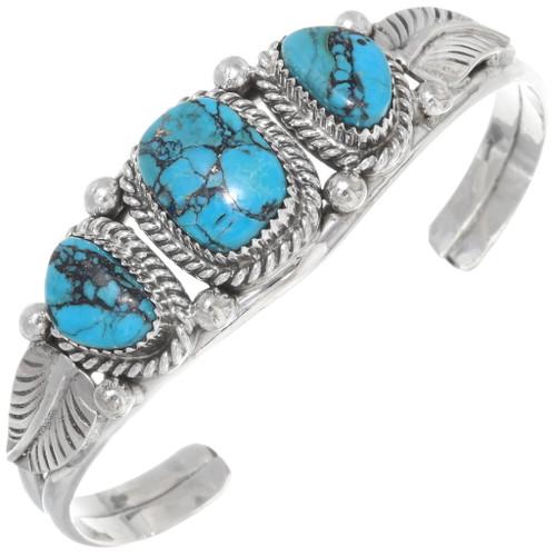 Navajo Three Stone Kingman Turquoise Bracelet 26658