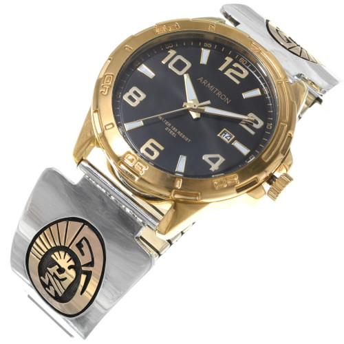 Navajo Kokopelli Symbol Sterling Silver Gold Watch 39245