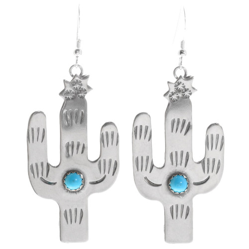 Turquoise Silver Cactus Earrings 39253