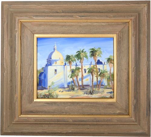 Vintage Mission Church Ajo Oil Painting 39269