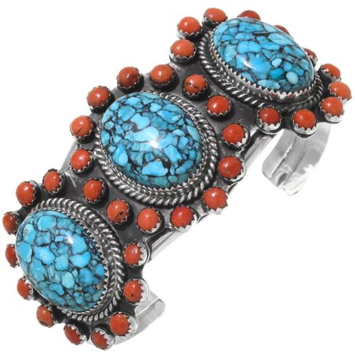 Coral Spiderweb Turquoise Handmade Bracelet 23373