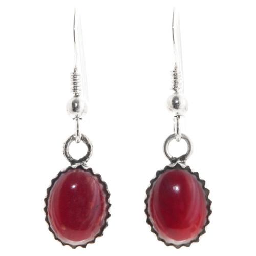 Native American Red Coral Earrings 39271