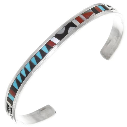Zuni Geometric Pattern Inlay Cuff Bracelet 39325