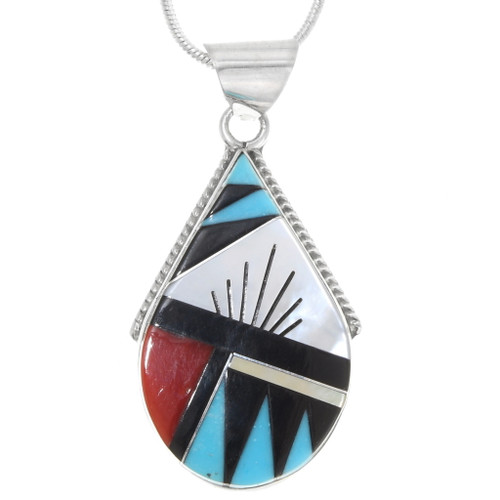 Native American Turquoise Inlay Pendant 39339