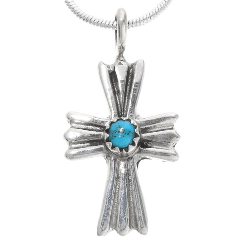 Turquoise Silver Navajo Cross Pendant 39344