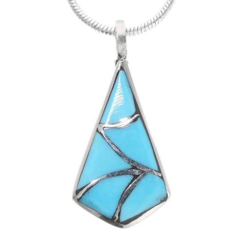 Zuni Inlaid Turquoise Silver Pendant 39346
