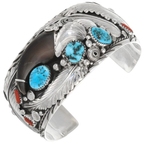 Navajo Bear Claw Turquoise Sterling Silver Cuff Bracelet 39350