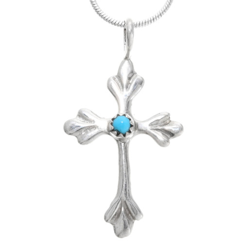 Turquoise Silver Navajo Cross Pendant 39352