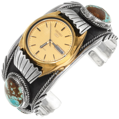 Navajo Number 8 Turquoise Sterling Silver Watch Cuff 39386