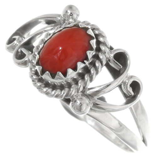 Red Coral Sterling Silver Navajo Ring 39392