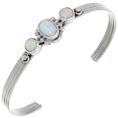 White Opal Sterling Silver Navajo Bracelet 39411