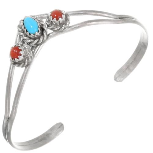 Navajo Turquoise Coral Baby Bracelet 39413