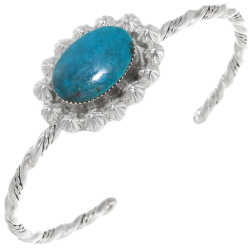Navajo Turquoise Silver Twist Wire Bracelet 39416