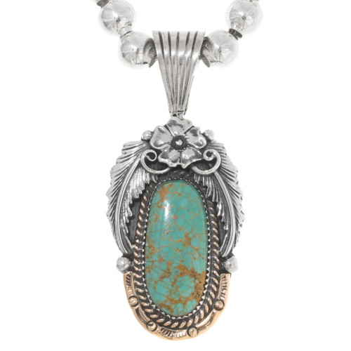 Native American Turquoise Silver Pendant 39423