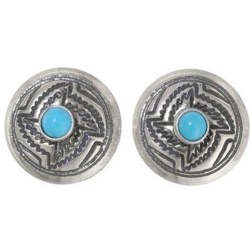 Navajo Turquoise Concho Post Earrings 39432