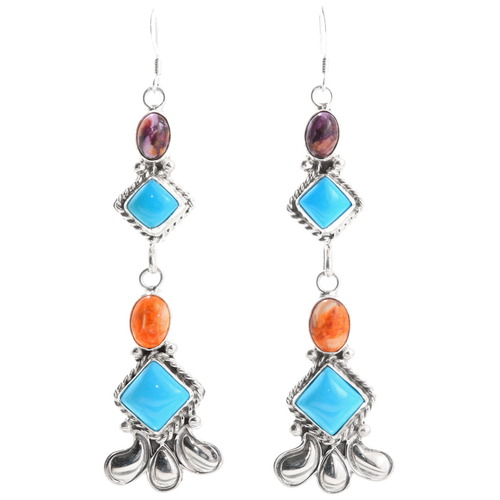 Navajo Turquoise Shell Dangle Earrings 39433