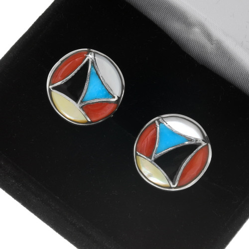 Turquoise Silver Zuni Cuff Links 39435