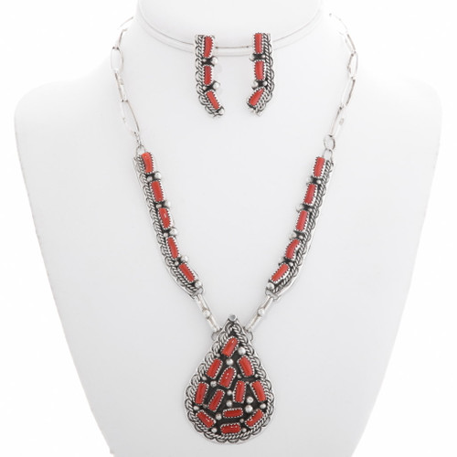 Native American Red Coral Necklace Set