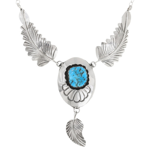 Turquoise Sterling Silver Navajo Feather Necklace 39438