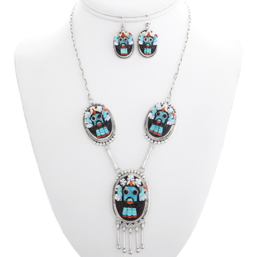 Zuni Turquoise Kachina Necklace Set 39439