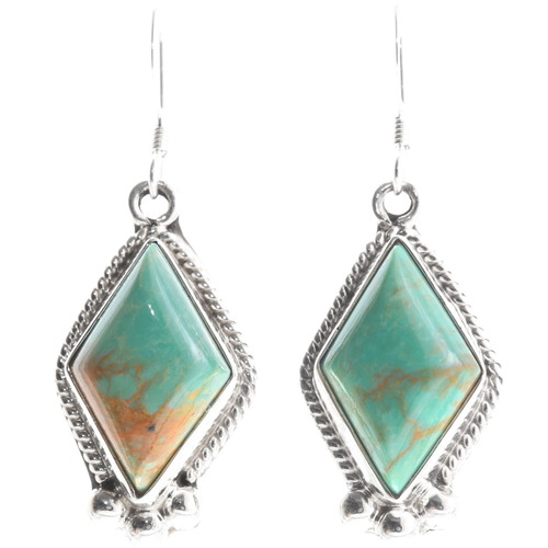 Green Turquoise Navajo Earrings 39445