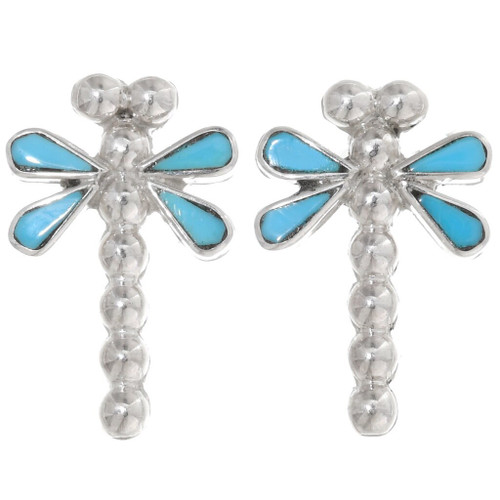 Turquoise Silver Dragonfly Earrings 39454