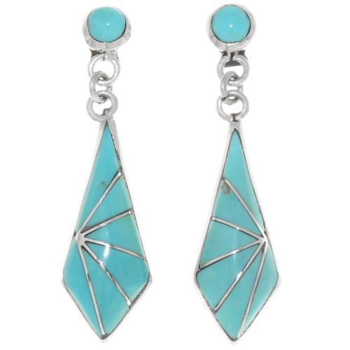 Turquoise Inlay Dangle Earrings 39461