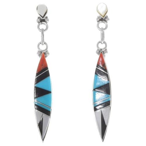 Turquoise Mosaic Inlay Dangle Earrings 39463