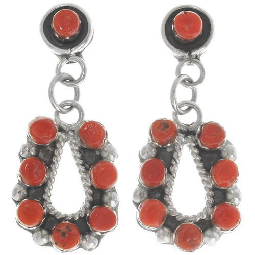 Red Coral Native American Earrings 39466