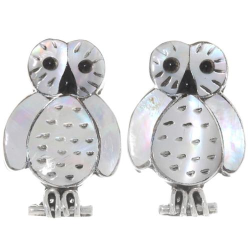 Inlaid Sterling Silver Owl Earrings 39472