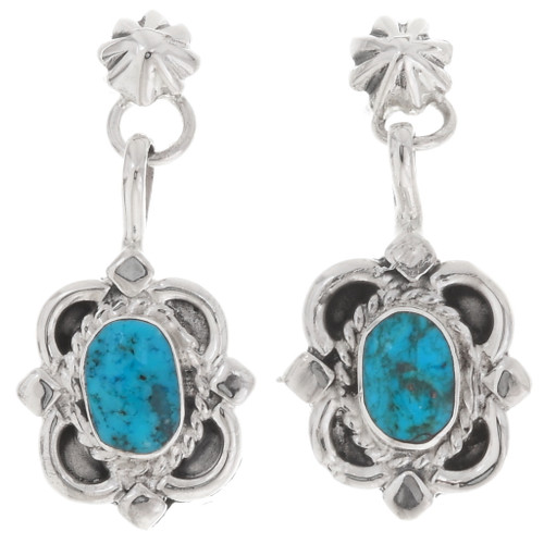 Navajo Turquoise Post Dangle Earrings 39486