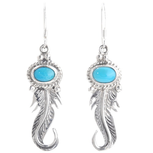 Sterling Silver Feather French Hook Earrings 39491