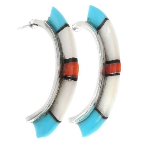 Zuni Inlaid Multistone Half Hoop Earrings 39496