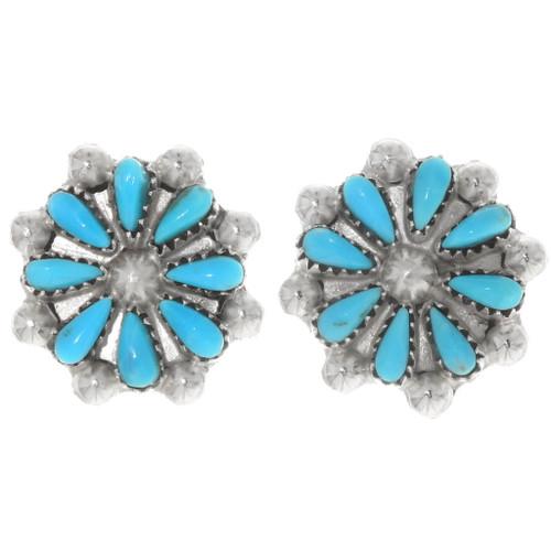 Turquoise Sterling Silver Filigree Earrings 39498