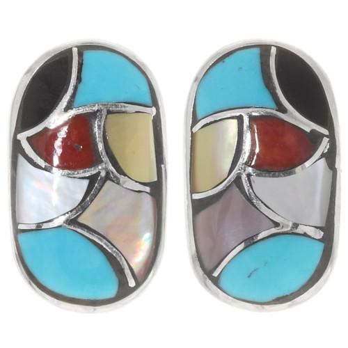 Zuni Multicolor Gemstone Inlay Earrings 39506