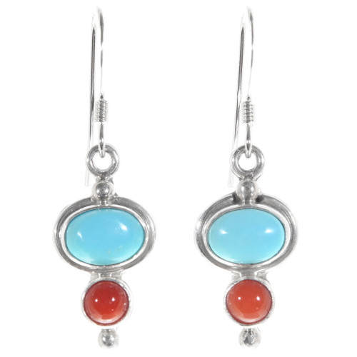 Navajo Turquoise Coral Silver Drop Earrings 39508