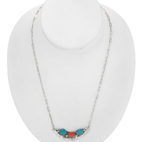 Sterling Silver Turquoise Navajo Necklace 39547
